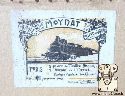 étiquette ancienne malle moynat petit train