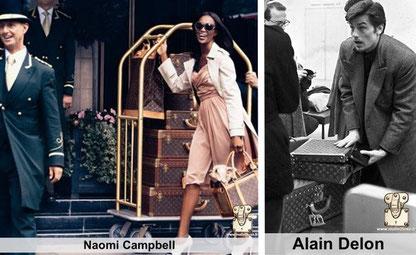 Naomi campbell - alain Delon people arborant leurs valises alzer Louis vuitton