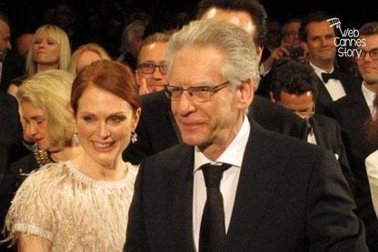 """Julianne MORE  et David CRONENBERG, réalisateur de """"MAPS TO THE STARS"""" - Festival de Cannes 2014 - Photo © Raymond HAIK"""
