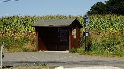 Situé en rase campagne, l'arrêt Les Guinéheux n'est pas destiné à être rénové.
