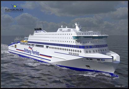 Vue d'artiste du nouveau navire de Brittany Ferries, M/V Honfleur, qui sera mis en service entre Ouistreham (Caen) et Portsmouth en juin 2019.
