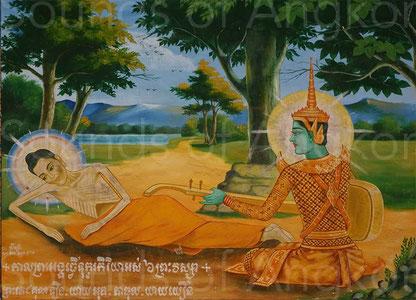Joueur de chapei devant le futur Bouddha amaigri par un jeûne exagéré. Œuvre contemporaine. Pagode sud d'Angkor Vat.