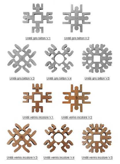 Dessous de plat Unité design en bois vernis aux motifs architecturaux