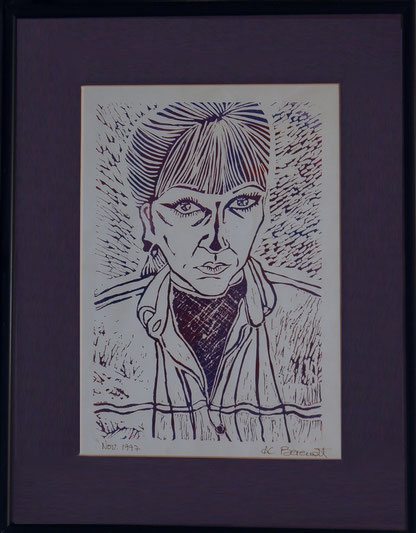 Self-portrait (Purple) - Linocut by Anne Berendt