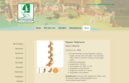 Holzspielzeug Beck mit neuer Homepage und neuem Online Shop
