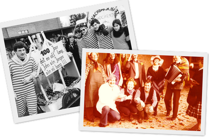 Links: 1983 - 100 Jahre TV Rheurdt Rechts: 1979 - Das Lehrerkollegium