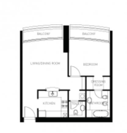 План Квартиры с одной спальней на 22 Этаже