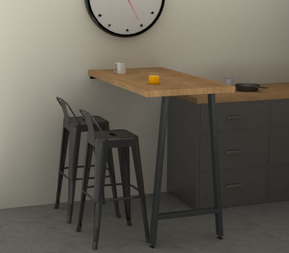 Pied de table mange debout coloris gris