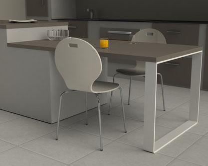 Pied de table design coloris blanc pour cuisine