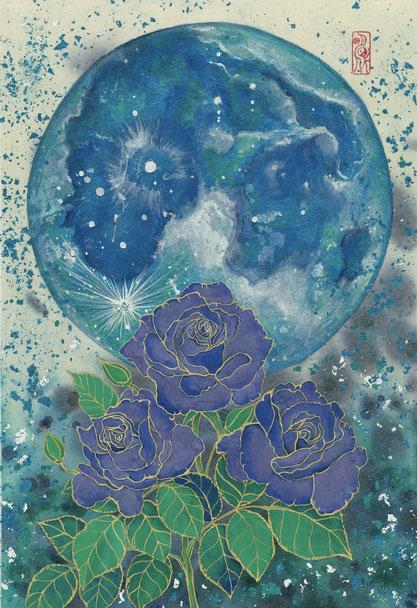 「Blue Moon」 P4(333x220mm) 日本画