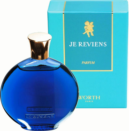 "WORTH - JE REVIENS : PARFUM - FLACON ""MONTRE"" - VERRE BLEU, CREATION LALIQUE"