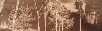 Wald/1  130 x 43 Holzschnitt