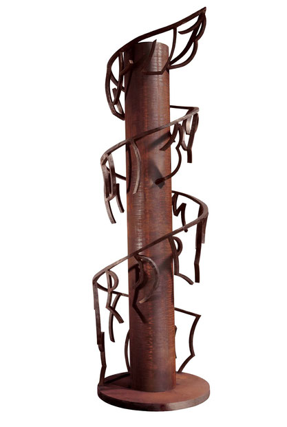 Vème  Commandement - La mémoire, tu transmettras (Du travail de mémoire) Acier patiné verni 360cm, socle 100cm (Collection particulière France - Collection ville de Terni Italie)