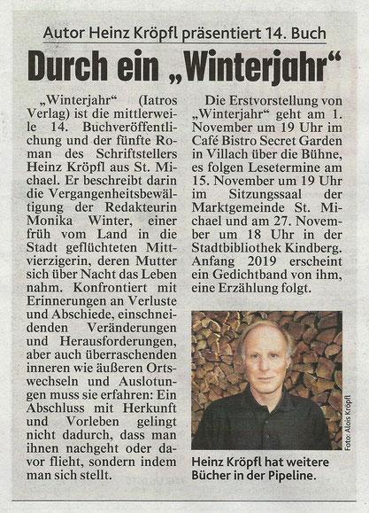 Buchvorstellung Rezension Roman Winterjahr Heinz Kröpfl Iatros Verlag