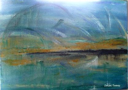 Abstrakt Island, Wasser Acryl auf Leinwand, Christel Thoenes