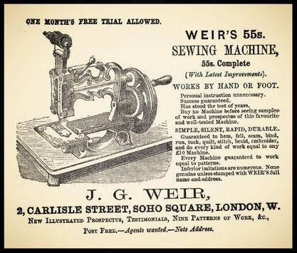 1871 - WEIR'S 55s. Sewing Machine