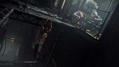 Living on the Edge: Nilin will klettern wie Lara Croft, ist dabei allerdings merklich steifer und eingeschränkter.