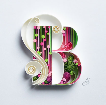 quilling, Quilling wall paper art, B, named art, Custom, paper art, Monogram, Personalized, Gift quilling art, Design, Decor, Art birthday, Larissa Zasadna, квиллинг