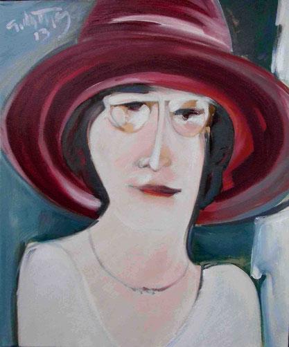 """Dame mit Hut"", 2013, Öl / Leinwand, 60 x 50 cm"