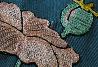 Close-up of chain stitch embroidery