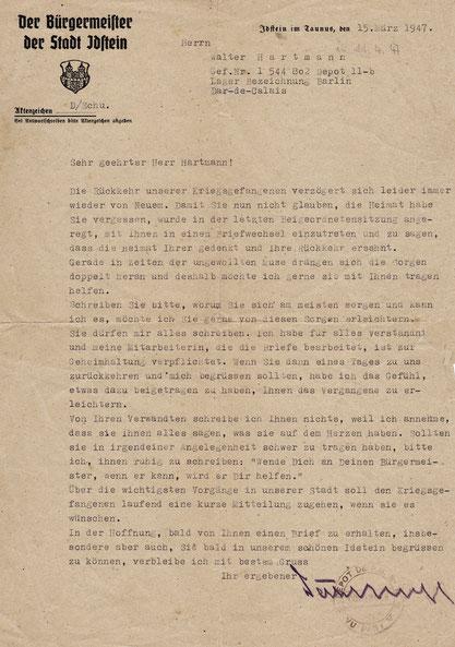 Briefe von Bgm. Dahlhoff an den Kriegsgefangen Walter Hartmann 1947