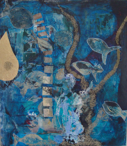 Traumwelten in Blau, intuitive Malerei, Seelenbilder, Gefühlswelten, Selbstentwicklung, Olching