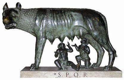 Luperca amamantando a Rómulo y Remo, los fundadores de Roma según la mitología.