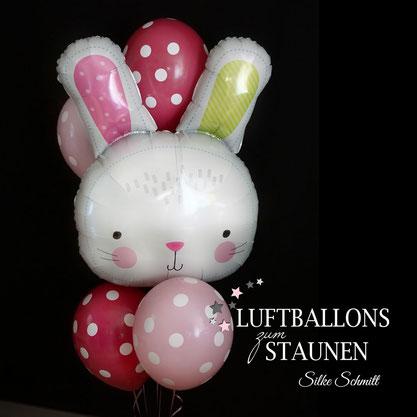 Ballon Luftballon Heliumballon Helium Hase verschicken Osterhase Bouquet Strauß Geschenk Mitbringsel Deko Dekoration Mädchen Kind Versand Überraschung Grüße