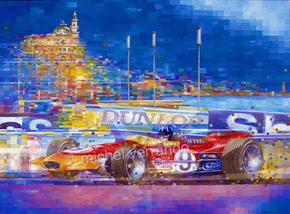 graham hill automotive art f1 painting art automobile lotus 49 grand prix monaco