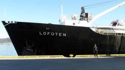 Unser Schiff MS Lofoten im Hafen von Alesund