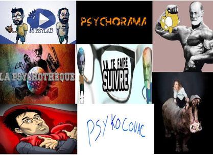 8 chaines YouTube qui vulgarisent la psychologie, la psychiatrie et la psychanalyse. PsyLab, Psychorama, Mardi noir, Psycho-Quoique, Va te faire suivre, Psychothèque, Sapiens sur un Caillou et PsykoCouac.