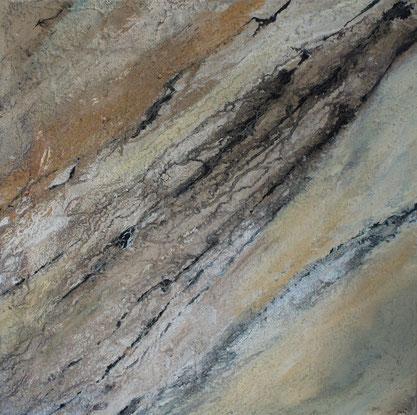 Aus der Reihe: Atelier Erde, Felswand, 50 x 50 cm, Fliesenkleber, Pigmente