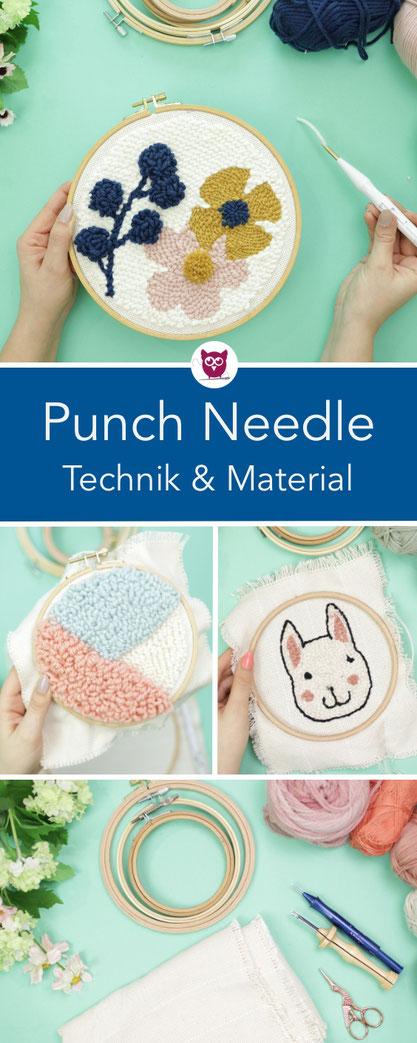 Punch Needle / Rug Hooking Technik und Grundlagen: Welches Material brauche ich für Punchneedling, Anleitung, Tipps und Tricks für Anfänger. Ich zeige euch verschiedene Projekte für Needle Punch. Anleitung von DIY Eule.