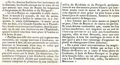 Article du 22 août 1852 Bains de mer à Royan