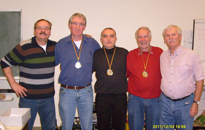 Heinz Okos und Jan Fischer mit den Siegern 1.-3. Platz