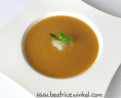 Beatrice Winkel - cold peach soup with lemon sorbet