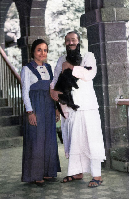1943 : Mahabaleshwar, India. Meher Baba with Mehera & Cracker the Scottish Terrier. Image colourized by Anthony Zois.