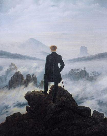 """Caspar D. Friedrich, """"Viandante sul mare di nebbia"""", (1818)"""