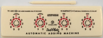 Sterling nº 565 DIAL-A-MATIC Adding Machine, año 1956, 20x6 cm