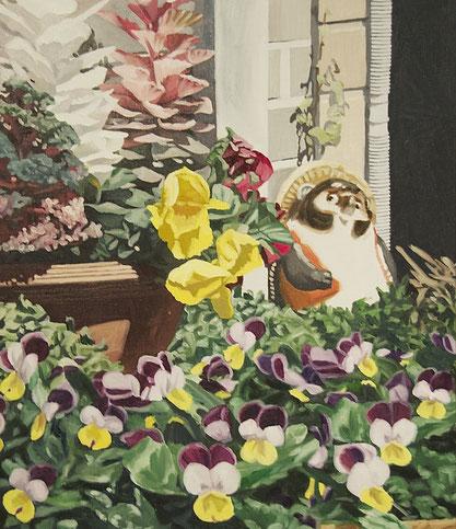 庭の鉢植えは波をかぶらない, 2016, 530×455mm, Oil on canvas