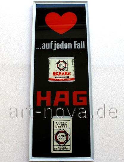 Werbeschild aus Glas Kaffee Hag Bremen um 1930 in sehr schöner Erhaltung!