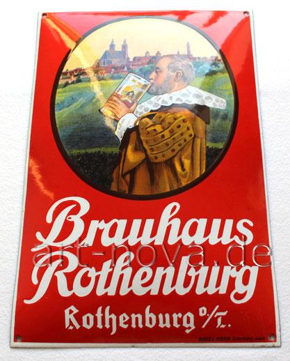 Emailschild des Brauhaus Rothenburg um 1920 in traumhafter Erhaltung
