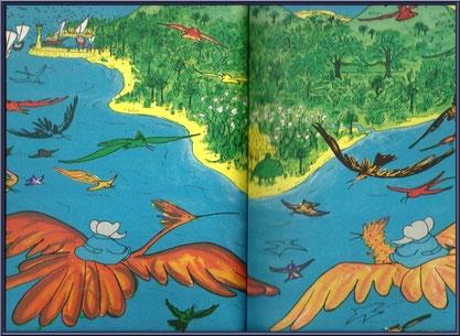 """Pages d'illustrations de la BD """"Babard dans l'Ile aux Oiseaux"""""""