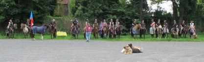 Gruppenbild mit Hunden beim Empfang in Domazlíce