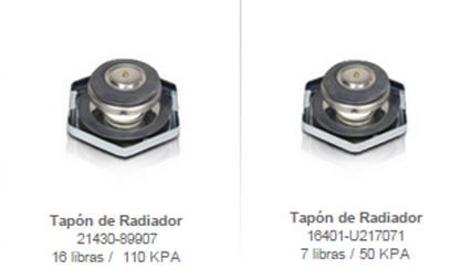 radiadores tapones enfriamiento montacargas mexico