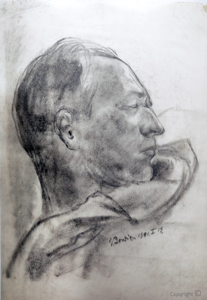 Erwin Bowien (1899-1972): Hanns Heinen schlafend, Graphitstudie, 1941