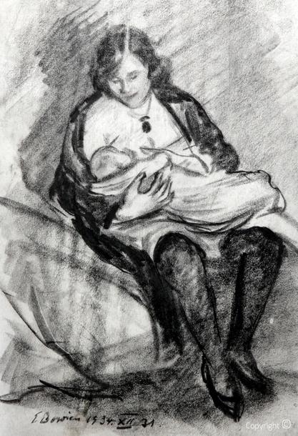 Erwin Bowien (1899-1972): Erna Heinen-Steinhoff beim Stillen, 1934