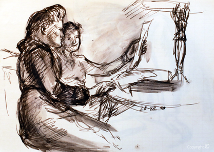Erwin Bowien (1899-1972): Ellen Marga Schmit am Fenster des großen Salons im Schwarzen Haus  in Solingen. Graphit und Rötel, 1950
