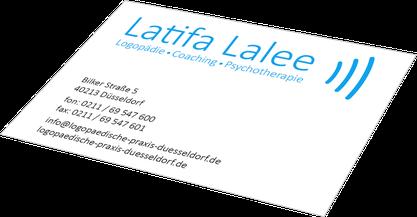 Visitenkarte Latifa Lalee, Logopädie Coaching Psychotherapie