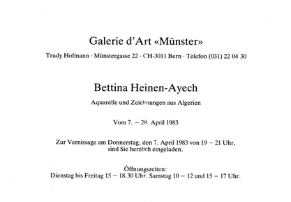 "Invitation card from the Galerie d´Art ""Münster, Bern"